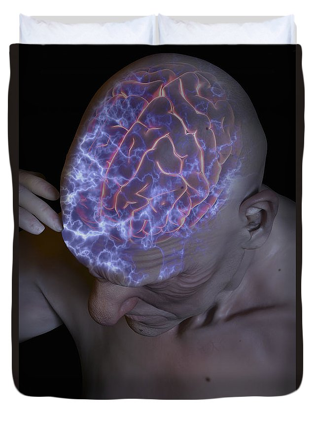 Migraine Duvet Cover featuring the photograph Head Pain by Science Picture Co