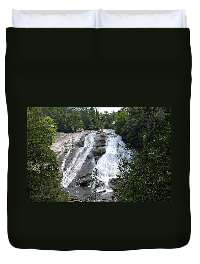 Waterfall Duvet Cover featuring the photograph High Falls North Carolina by Charles Beeler