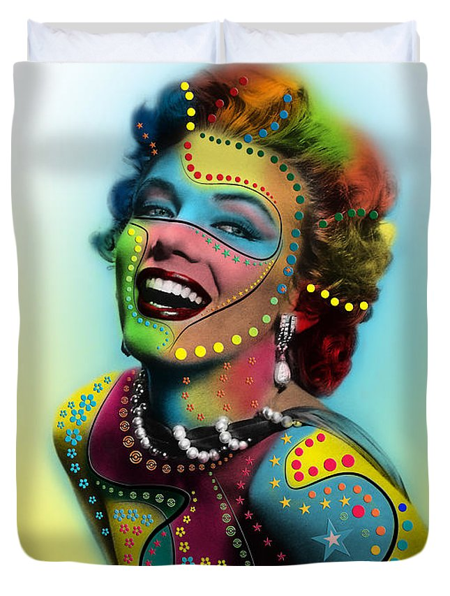 Pop Art Duvet Cover featuring the digital art Marilyn Monroe 12 by Mark Ashkenazi