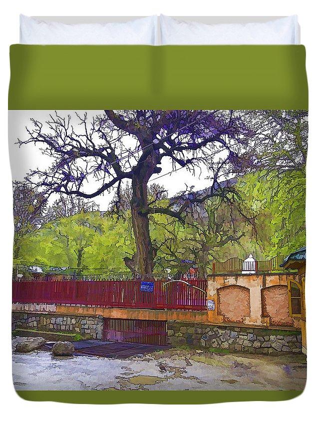 Green Duvet Cover featuring the digital art Near Entrance To Hindu Temple Of Mattan by Ashish Agarwal