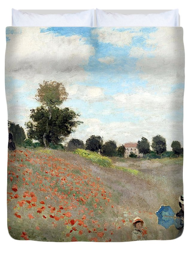 Claude Duvet Cover featuring the painting Poppy Field by Claude Monet