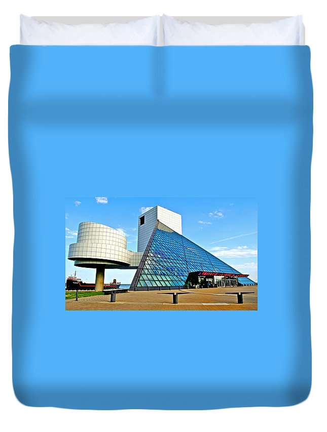 Rock Duvet Cover featuring the photograph Rock and Roll Hall of Fame by Frozen in Time Fine Art Photography