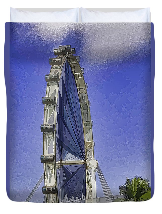Asia Duvet Cover featuring the digital art Singapore Flyer by Ashish Agarwal