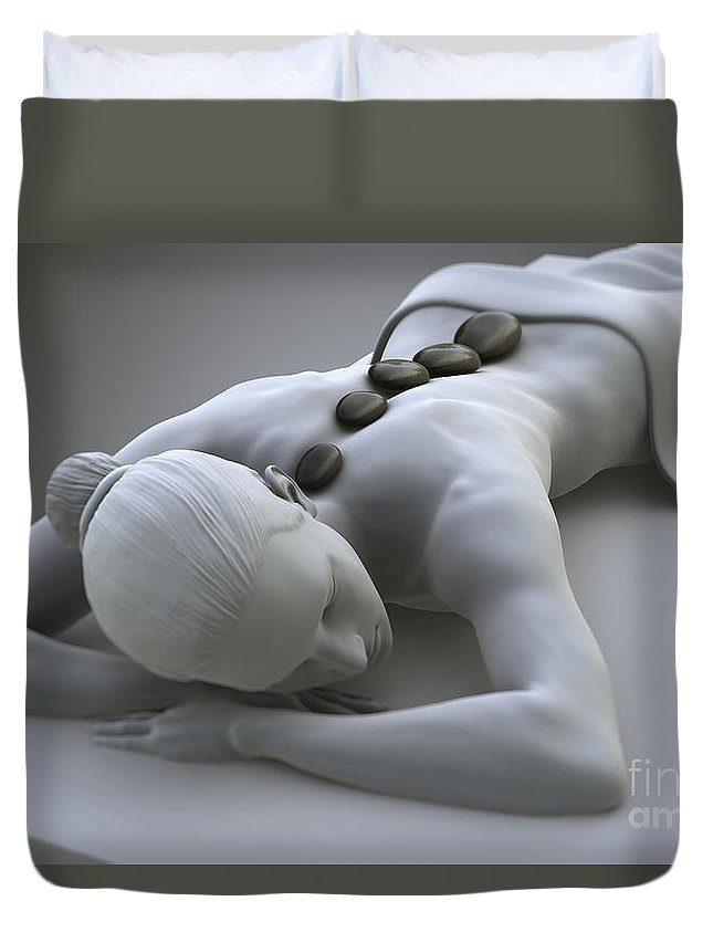 Biomedical Illustration Duvet Cover featuring the photograph Stone Therapy by Science Picture Co