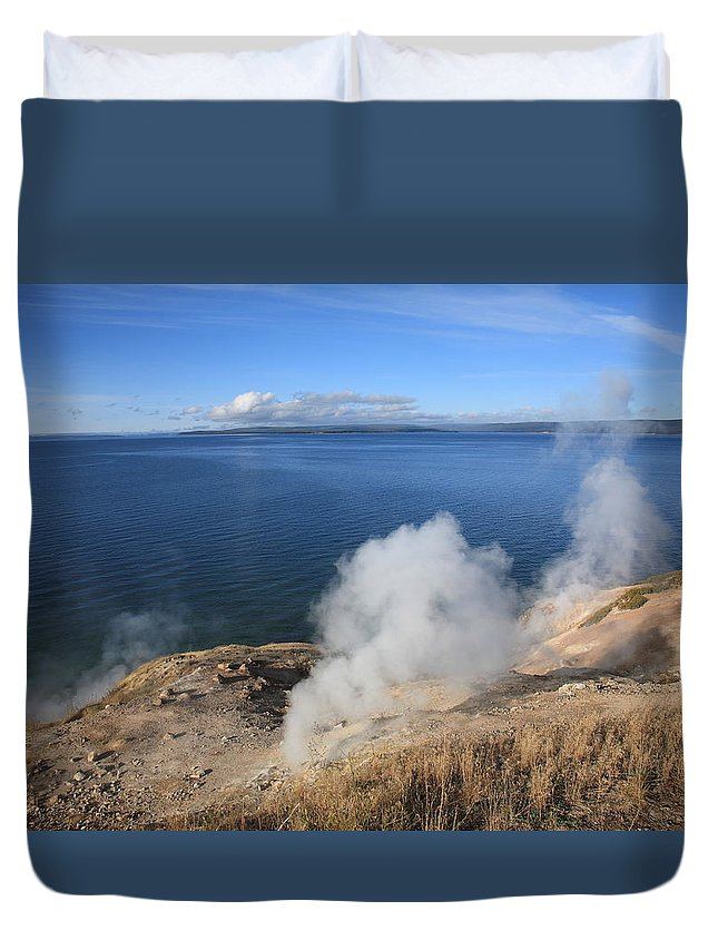 America Duvet Cover featuring the photograph Yellowstone Lake And Geysers by Frank Romeo