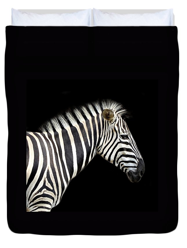 Zebra Duvet Cover featuring the photograph Zebra by Heike Hultsch