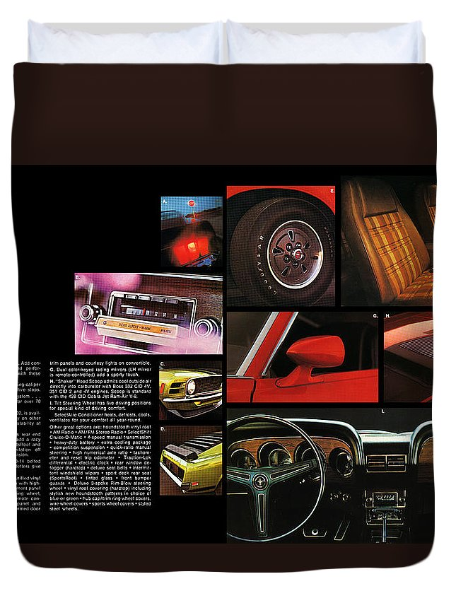 1968 Duvet Cover featuring the digital art '70 Mustang Options by Digital Repro Depot