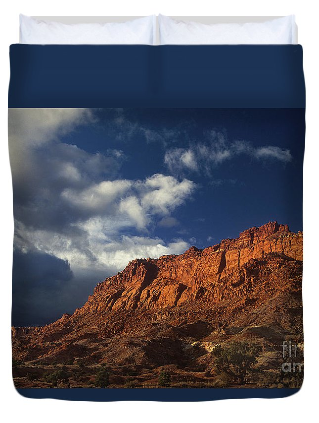 Dave Welling Duvet Cover featuring the photograph clearing storm waterpocket fold capitol reef NP by Dave Welling