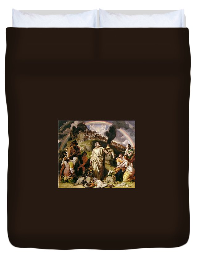 Wooded Coast Scene Duvet Cover featuring the painting Wooded Coast Scene by MotionAge Designs