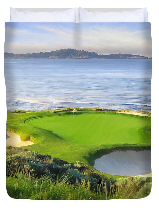 7th Hole Duvet Cover featuring the painting 7th Hole At Pebble Beach by Tim Gilliland