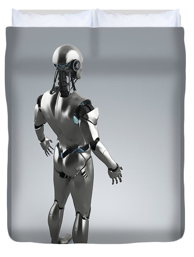Grey Background Duvet Cover featuring the photograph Android by Science Picture Co