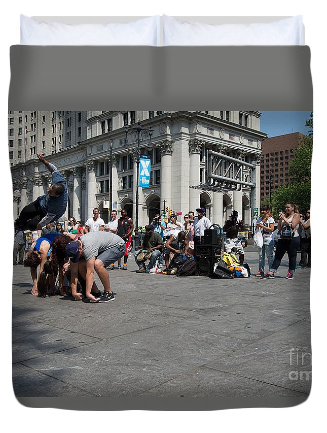 Breakdancing Duvet Cover featuring the digital art Breakdancers by Carol Ailles