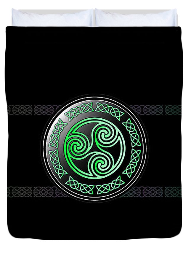 Celtic Duvet Cover featuring the digital art Celtic Triskele by Ireland Calling