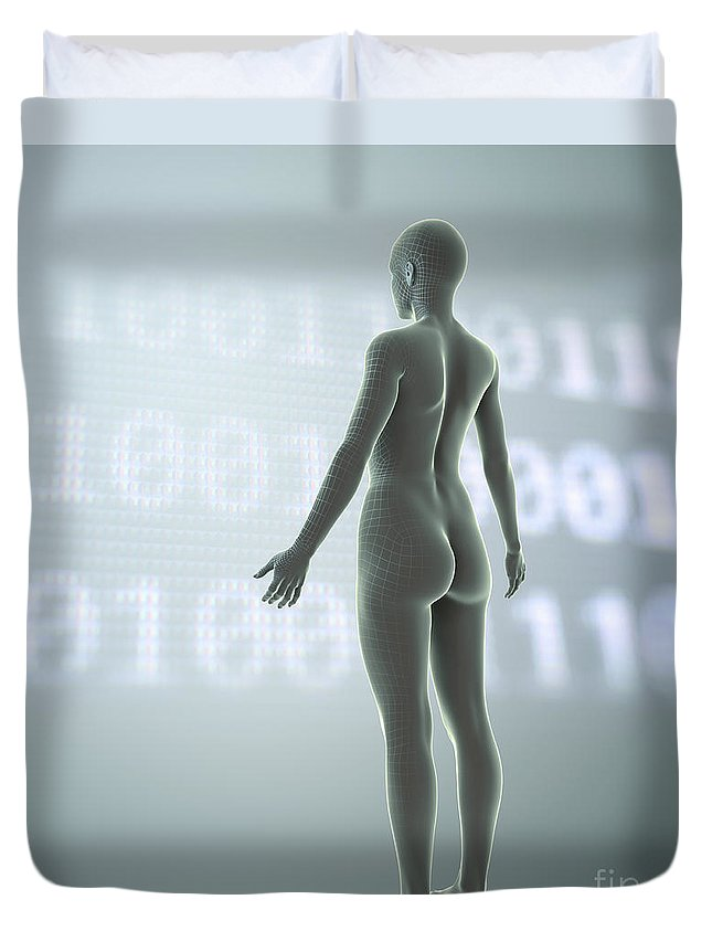 3d Visualisation Duvet Cover featuring the photograph Digital Being by Science Picture Co