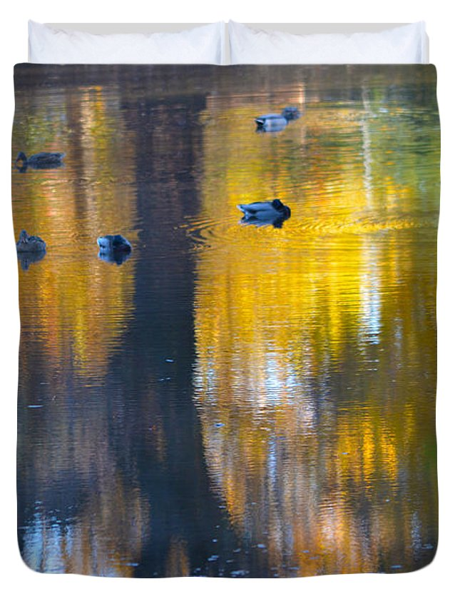 Ducks Duvet Cover featuring the photograph 8 Ducks On Pond by Deprise Brescia