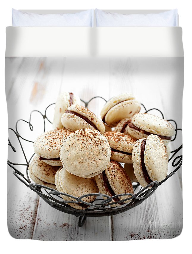 Macaron Duvet Cover featuring the photograph French Macaroons by Kati Finell