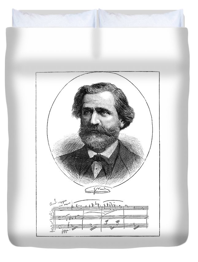 1873 Duvet Cover featuring the painting Giuseppe Verdi (1813-1901) by Granger