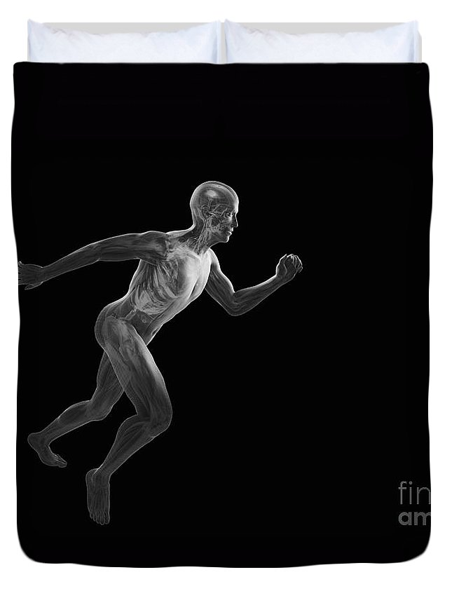 Transparent Duvet Cover featuring the photograph Running Male Figure by Science Picture Co