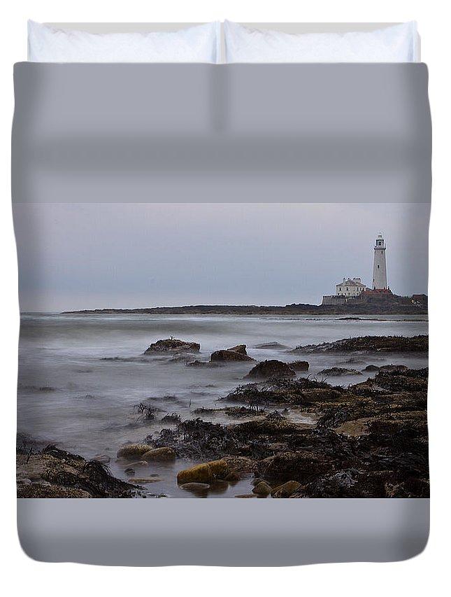 St Marys Duvet Cover featuring the photograph St Marys Lighthouse by David Pringle