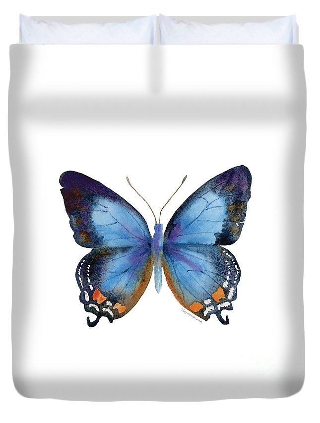 Imperial Blue Butterfly Duvet Cover featuring the painting 80 Imperial Blue Butterfly by Amy Kirkpatrick