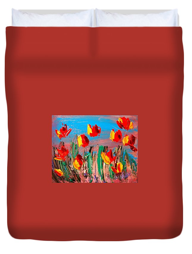 Duvet Cover featuring the painting Tulips by Mark Kazav