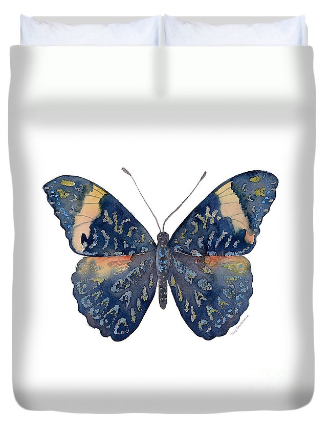 Red Cracker Butterfly Duvet Cover featuring the painting 89 Red Cracker Butterfly by Amy Kirkpatrick