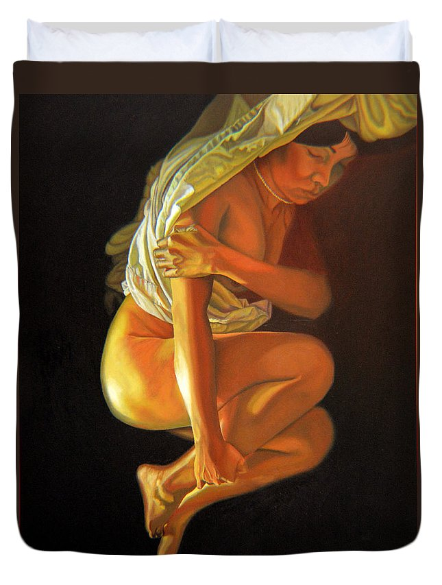 Oil_painting Duvet Cover featuring the painting 9 30 Am by Thu Nguyen