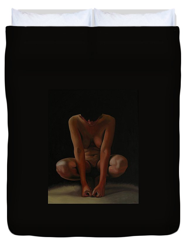 Nude Duvet Cover featuring the painting 9 Am by Thu Nguyen