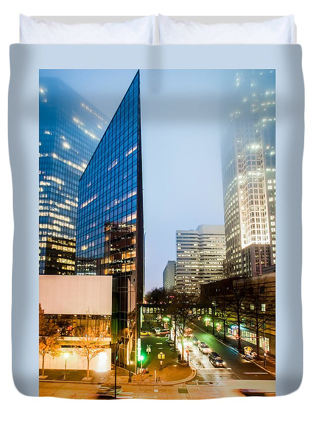 2012 Duvet Cover featuring the photograph Charlotte City Skyline Night Scene by Alex Grichenko