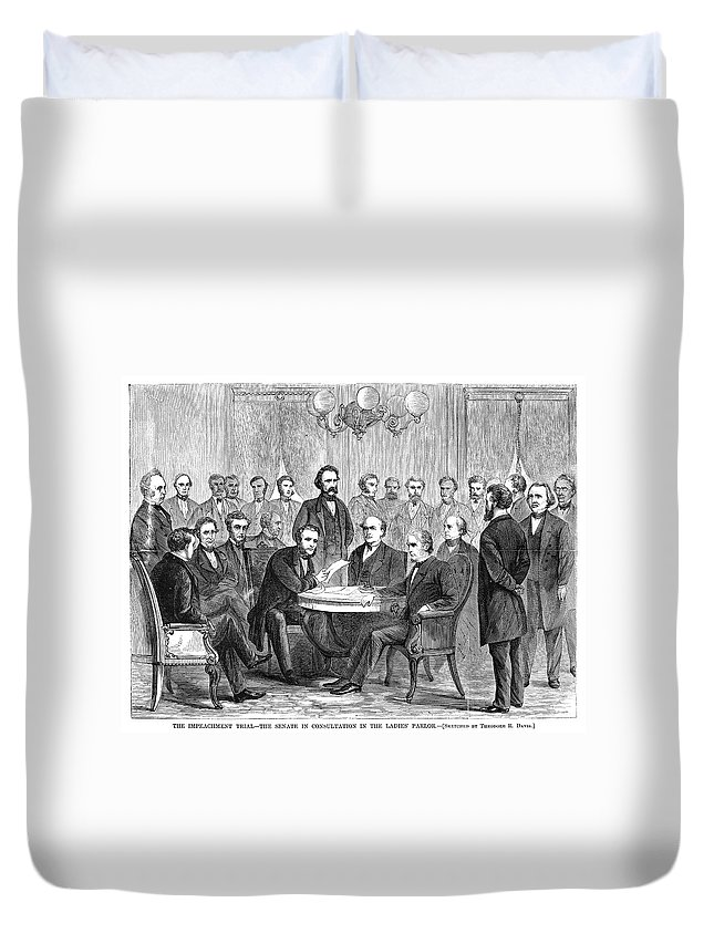1868 Duvet Cover featuring the painting Johnson Impeachment, 1868 by Granger