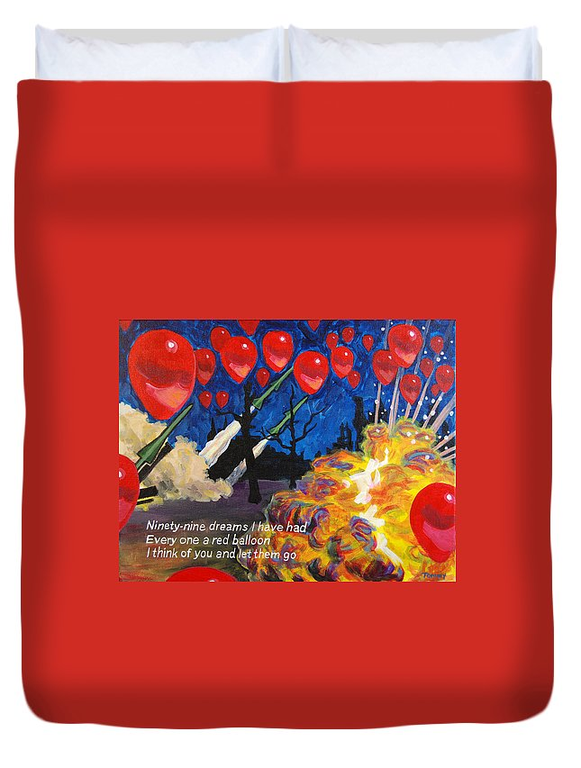 Nena Duvet Cover featuring the painting 99 Red Balloons by Tommy Midyette