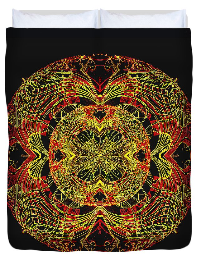995 Duvet Cover featuring the painting 995 - Mandala In Earth Colours  by Irmgard Schoendorf Welch