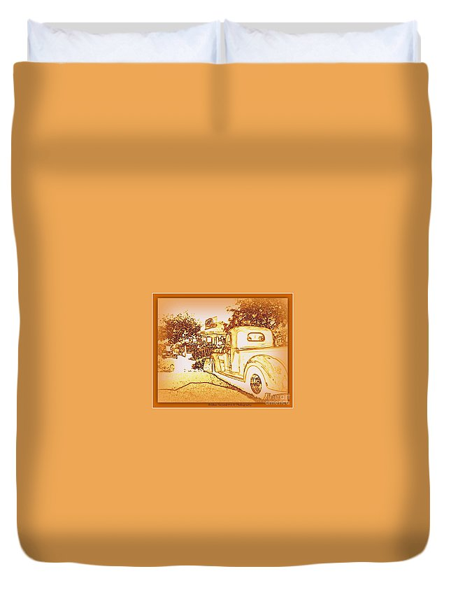 Classic Car Duvet Cover featuring the photograph A And W Drive In by Bobbee Rickard