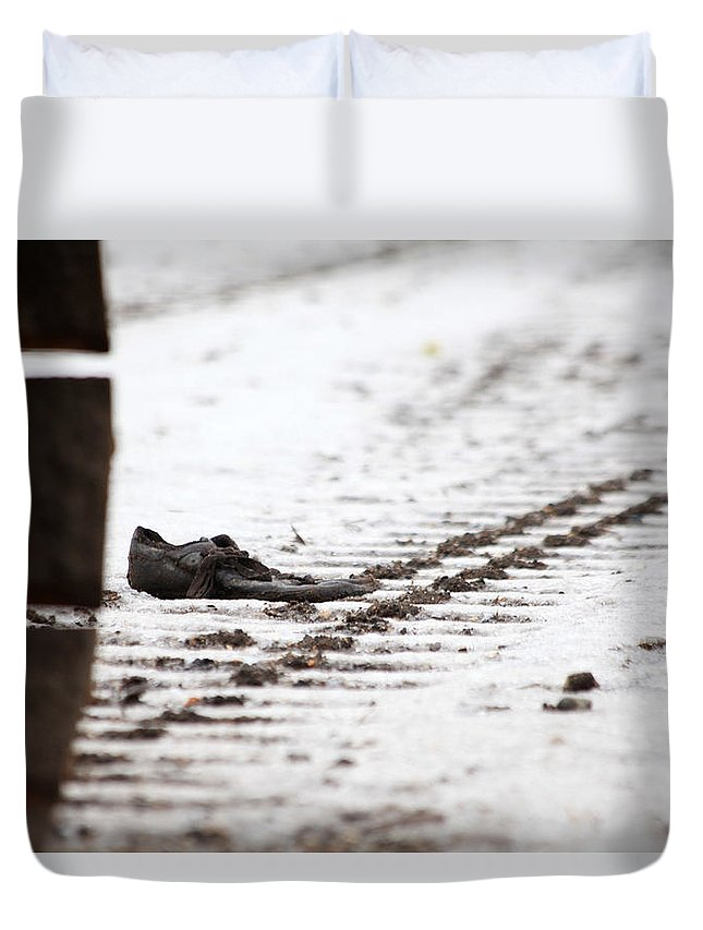 Tracks Duvet Cover featuring the photograph A Bad Day by Karol Livote