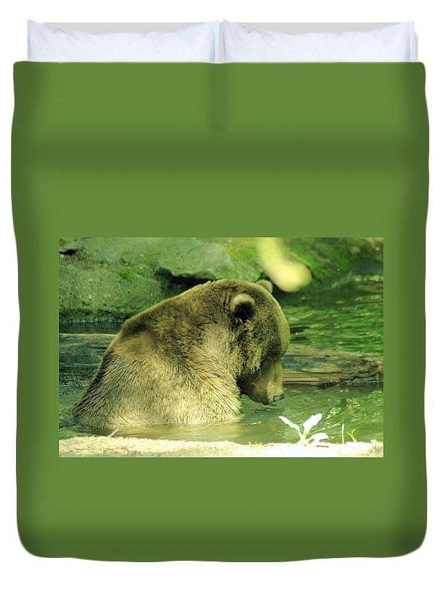 Bear Duvet Cover featuring the photograph A Bear Bath by Jeff Swan