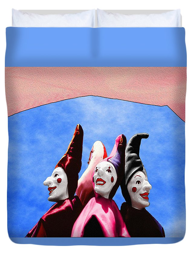 Comical Duvet Cover featuring the photograph A Bevy Of Jesters by Paul Wear