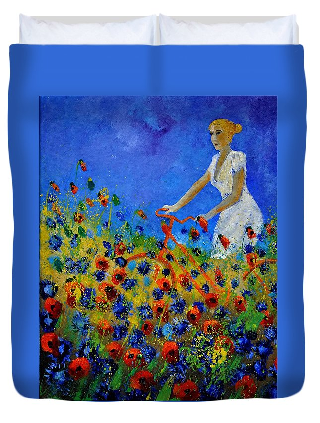 Flowers Duvet Cover featuring the painting A bicycle amid the flowers by Pol Ledent