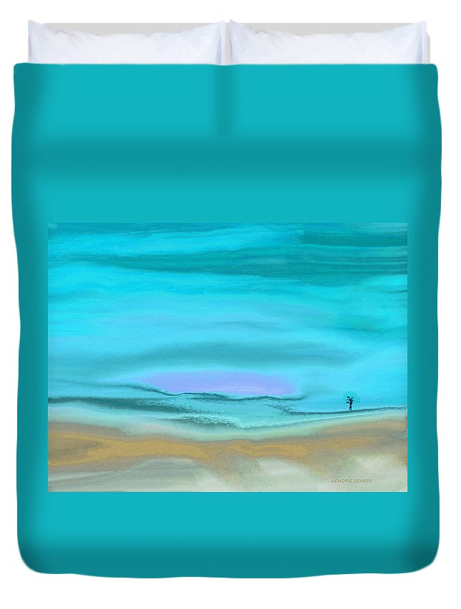 Abstract Duvet Cover featuring the painting A Bit Of Snow by Lenore Senior