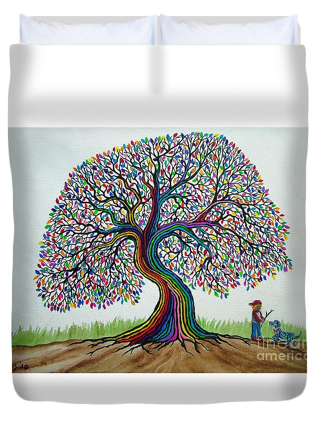 Rainbow Tree Duvet Cover featuring the painting A Boy His Dog And Rainbow Tree Dreams by Nick Gustafson