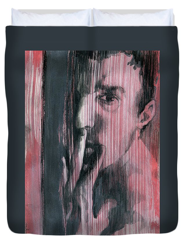 Gay Boy Duvet Cover featuring the painting A Boy Named Silence by Rene Capone