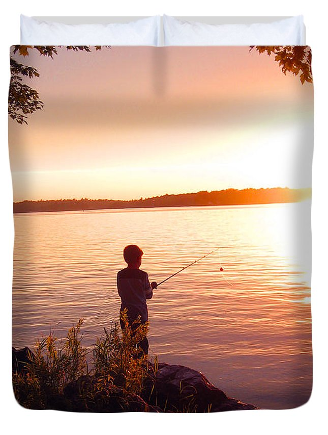Boy Duvet Cover featuring the photograph A Boy's Dream by Mary Cloninger