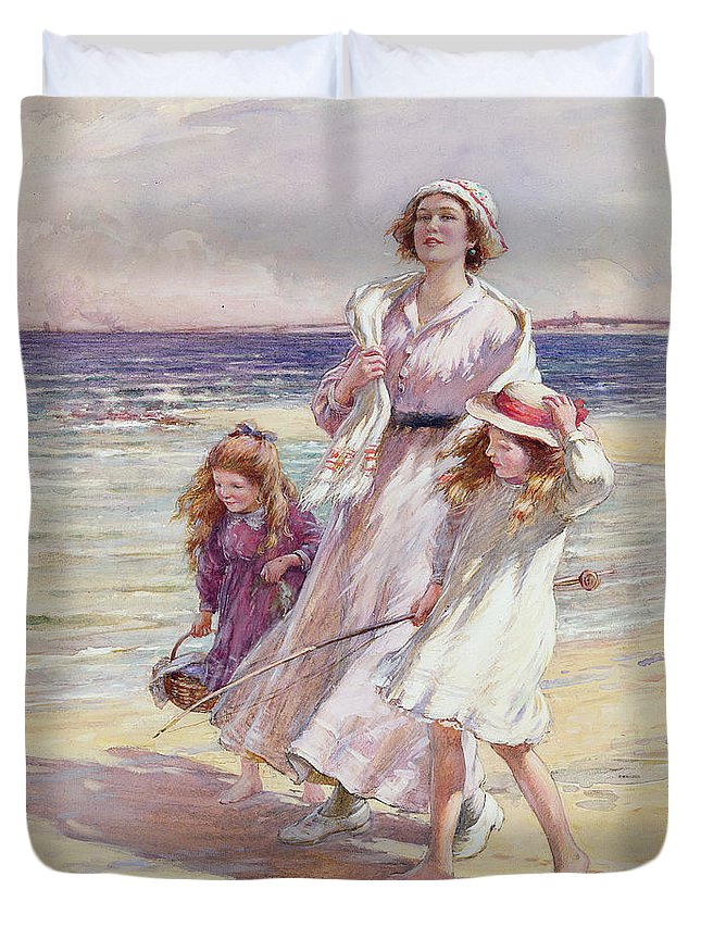 Beach Duvet Cover featuring the painting A Breezy Day At The Seaside by William Kay Blacklock