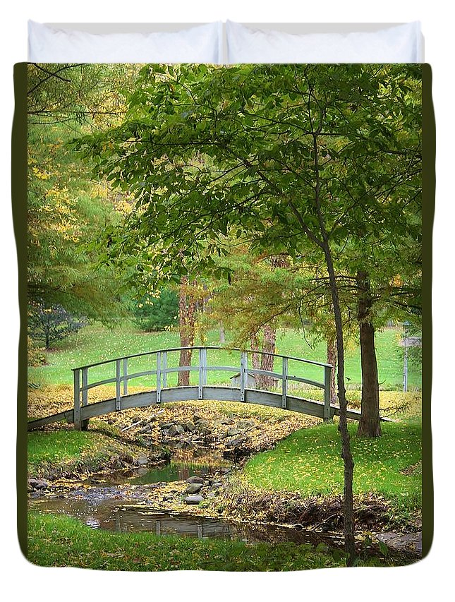 Sinnissippi Park Duvet Cover featuring the photograph A Bridge To Peacefulness by Bruce Bley
