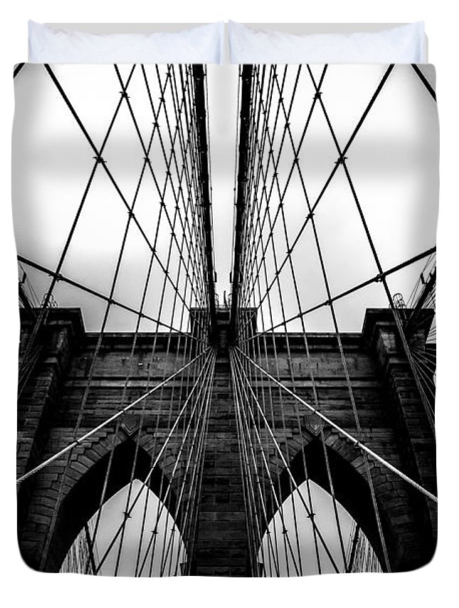 Brooklyn Bridge Arches Duvet Cover featuring the photograph A Brooklyn Perspective by Az Jackson