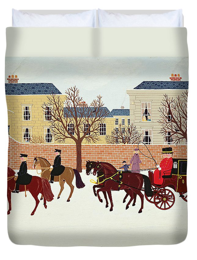 Contemporary Duvet Cover featuring the painting A Carriage Escorted By Police by Vincent Haddelsey