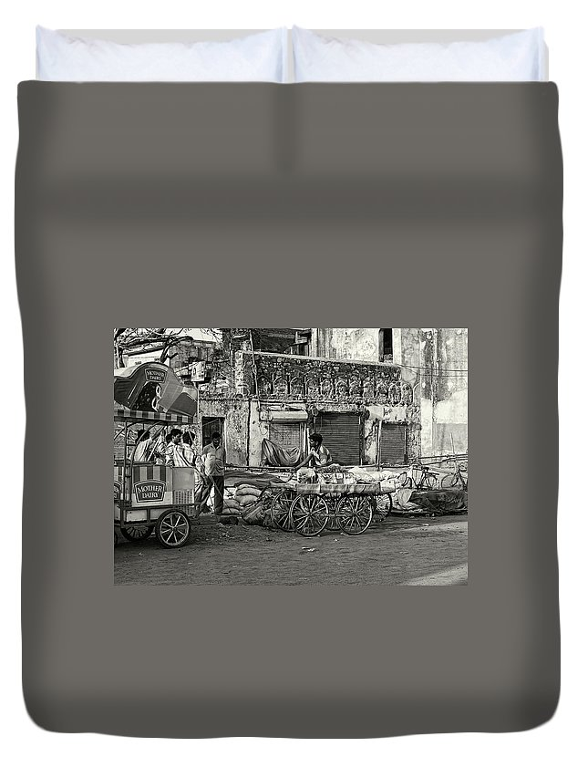 Asia Duvet Cover featuring the photograph A Chat Among Friends by Roberto Pagani