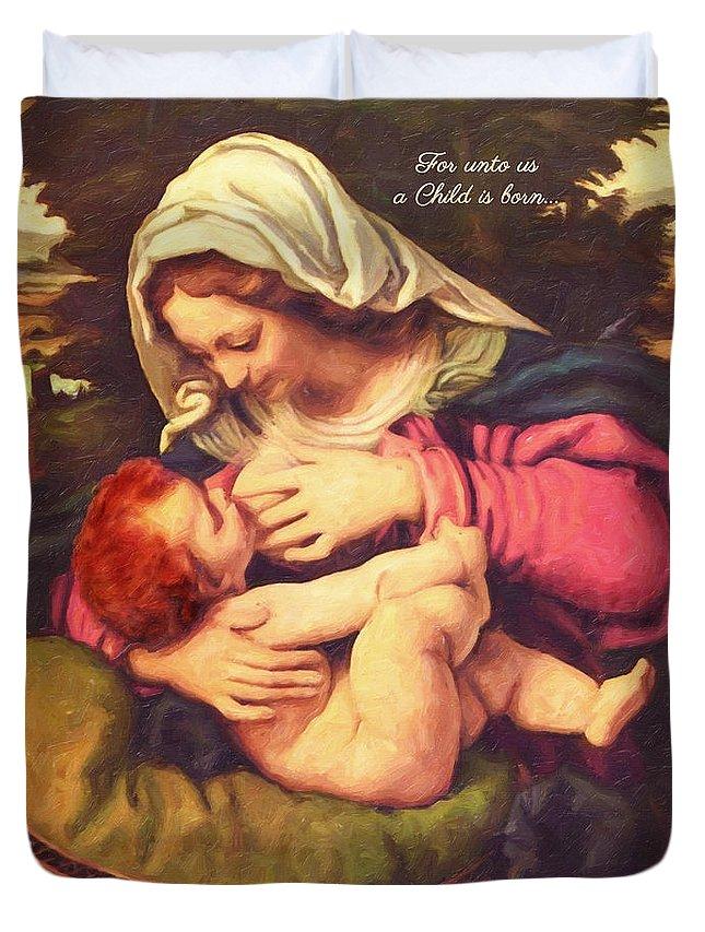 Virgin Duvet Cover featuring the digital art A Child Is Born by Lianne Schneider