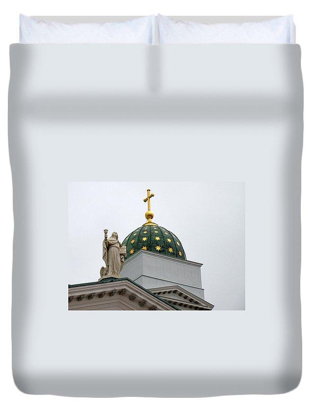Church Duvet Cover featuring the photograph A Church In Helsinki by Richard Rosenshein