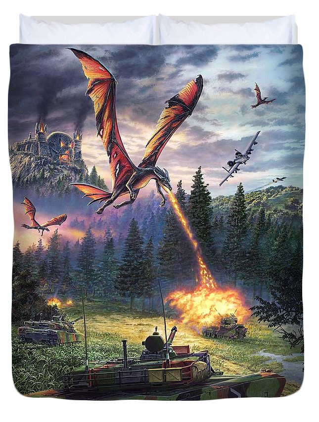 Dragon Duvet Cover featuring the painting A Clash Of Worlds by Stu Shepherd