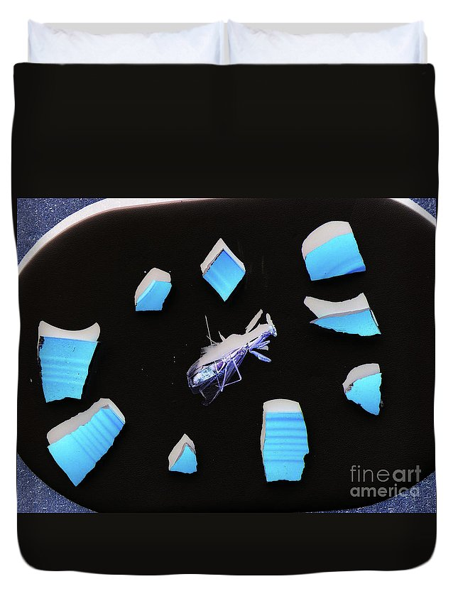 Abstract Insect Gallery Wrap Duvet Cover featuring the photograph A Clockwork Blue by Joe Jake Pratt